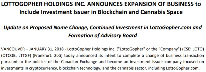 LottoGopher's announcement on its planned change of business.