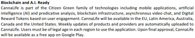 Global Cannabis Application's October 12, 2017 news release detailing the benefits of CannaLife.