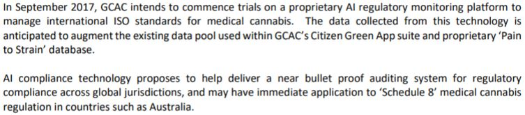 Snippet from Global Cannabis Applications' July 19, 2017 news release.