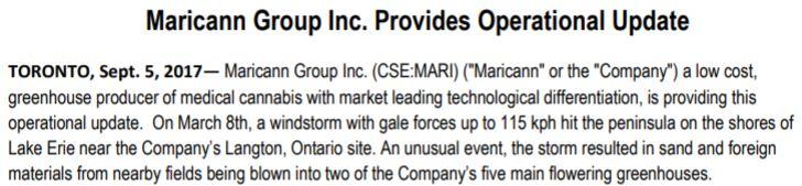 Maricann Group's September 5, 2017 operational update.
