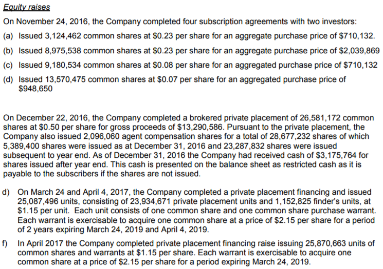 A series of snippets from the latest TGOD prospectus filing related to share issuance pricing.