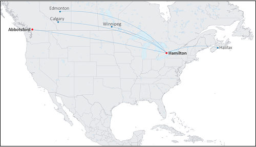Canada Jetlines Flight Paths