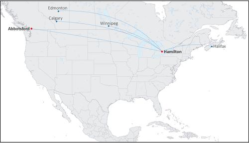 Canada Jetlines Flight Paths