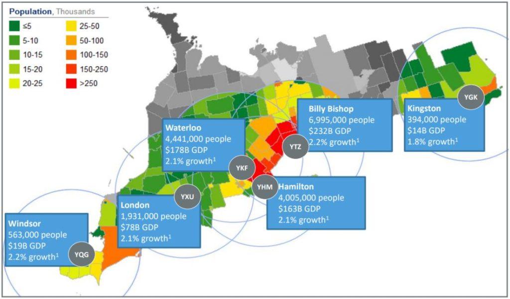Canada Jetlines' Southern Ontario region of focus.