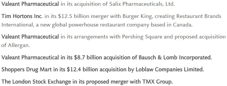 A handful of Clay Horner's recent M&A cases.