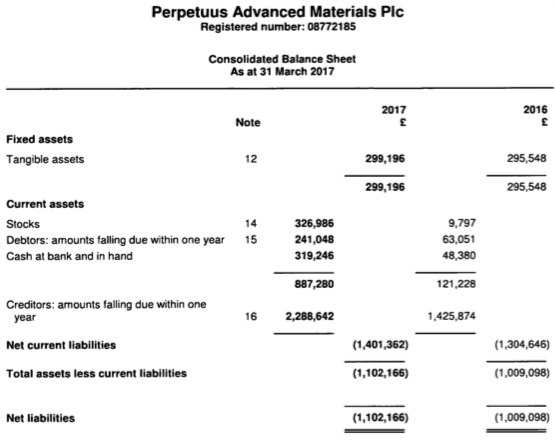 Balance sheet of Perpetuus Advanced Materials