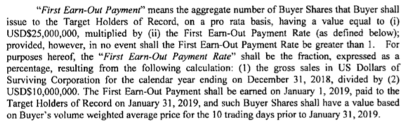 Terms for Kure Corp's first earn out payment.
