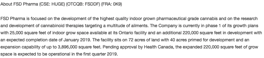 FSD Pharma's stated facility size - snippet from an October press release.