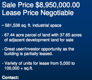 Snippet from a sales listing for the Kraft facility