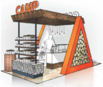 A rendering of Green Growth Brand's Camp kiosk.