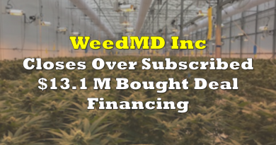 WeedMD Closes Over Subscribed Financing for $13.1 Million