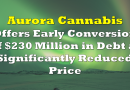 Aurora Offers Early Conversion of $230 Million in Debt at Significantly Reduced Price