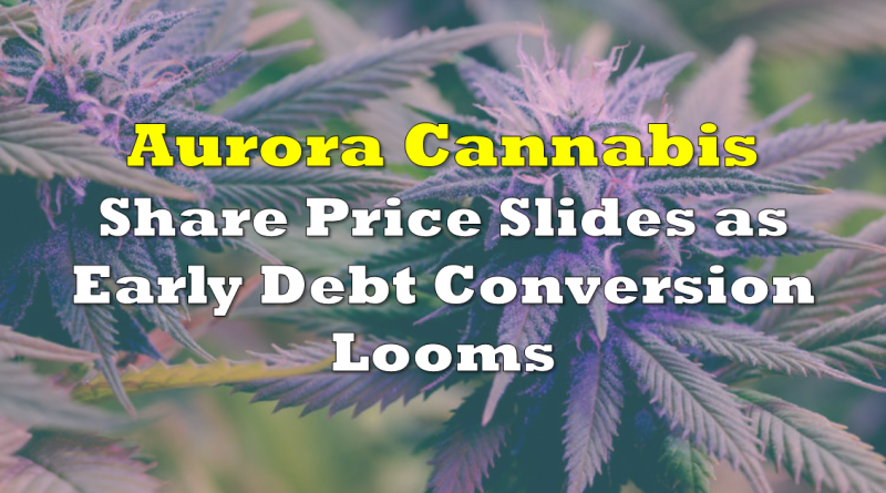 Aurora Cannabis Sees Share Price Slide as Early Debt Conversion Looms