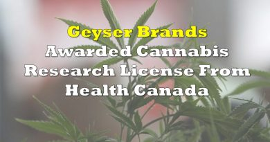 Geyser Brands Awarded Cannabis Research License