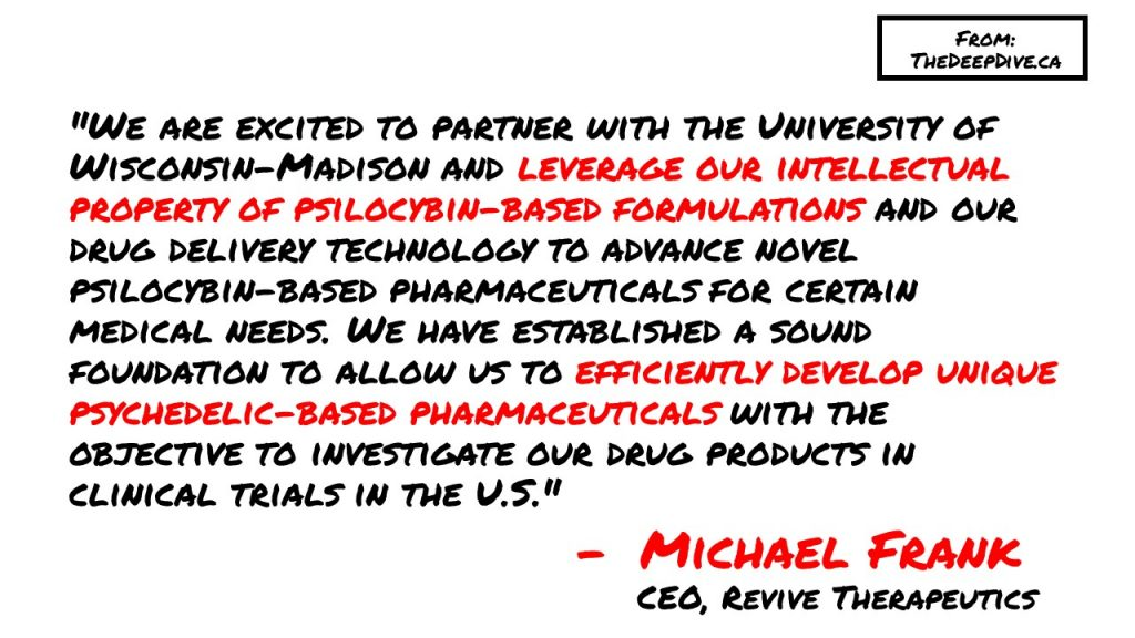 """We are excited to partner with the University of Wisconsin-Madison and leverage our intellectual property of psilocybin-based formulations and our drug delivery technology to advance novel psilocybin-based pharmaceuticals for certain medical needs. We have established a sound foundation to allow us to efficiently develop unique psychedelic-based pharmaceuticals with the objective to investigate our drug products in clinical trials in the U.S.""  - Michael Frank, CEO"