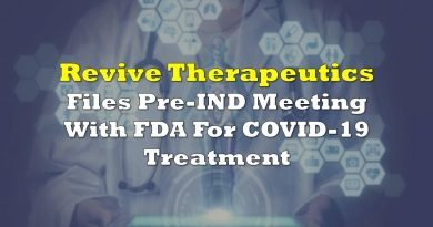 Revive Files Pre-IND Meeting With FDA For COVID-19 Treatment