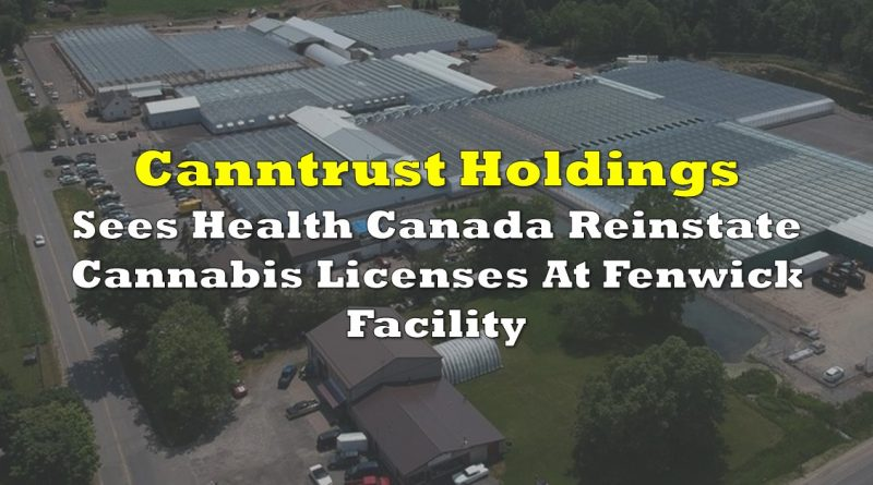 Canntrust Holdings Sees Health Canada Reinstate Cannabis Licenses At Fenwick Facility
