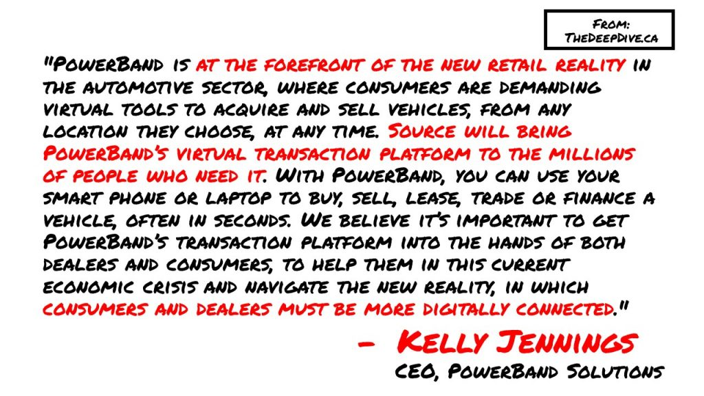 """""""PowerBand is at the forefront of the new retail reality in the automotive sector, where consumers are demanding virtual tools to acquire and sell vehicles, from any location they choose, at any time. Source will bring PowerBand's virtual transaction platform to the millions of people who need it. With PowerBand, you can use your smart phone or laptop to buy, sell, lease, trade or finance a vehicle, often in seconds. We believe it's important to get PowerBand's transaction platform into the hands of both dealers and consumers, to help them in this current economic crisis and navigate the new reality, in which consumers and dealers must be more digitally connected.""""  Kelly Jennings, PowerBand CEO"""
