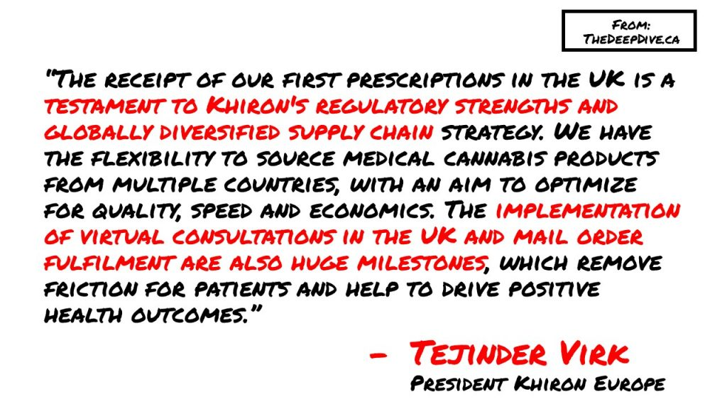 """""""The receipt of our first prescriptions in the UK is a testament to Khiron's regulatory strengths and globally diversified supply chain strategy. We have the flexibility to source medical cannabis products from multiple countries, with an aim to optimize for quality, speed and economics. The implementation of virtual consultations in the UK and mail order fulfilment are also huge milestones, which remove friction for patients and help to drive positive health outcomes."""" Tejinder Virk, President Khiron Europe"""