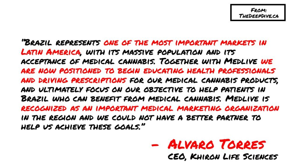 """""""Brazil represents one of the most important markets in Latin America, with its massive population and its acceptance of medical cannabis. Together with Medlive we are now positioned to begin educating health professionals and driving prescriptions for our medical cannabis products, and ultimately focus on our objective to help patients in Brazil who can benefit from medical cannabis. Medlive is recognized as an important medical marketing organization in the region and we could not have a better partner to help us achieve these goals."""" Alvaro Torres, CEO"""
