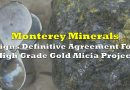 Monterey Minerals Signs Definitive Agreement For High Grade Gold Alicia Project