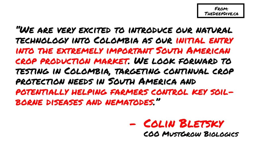 """We are very excited to introduce our natural technology into Colombia as our initial entry into the extremely important South American crop production market. We look forward to testing in Colombia, targeting continual crop protection needs in South America and potentially helping farmers control key soil-borne diseases and nematodes."" Colin Bletsky, COO MustGrow Biologics"