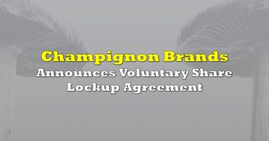 Champignon Brands Announces Voluntary Share Lockup Agreement