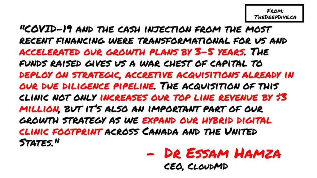 """COVID-19 and the cash injection from the most recent financing were transformational for us and accelerated our growth plans by 3-5 years. The funds raised gives us a war chest of capital to deploy on strategic, accretive acquisitions already in our due diligence pipeline. The acquisition of this clinic not only increases our top line revenue by $3 million, but it's also an important part of our growth strategy as we expand our hybrid digital clinic footprint across Canada and the United States.""  Dr Essam Hamza, CEO"