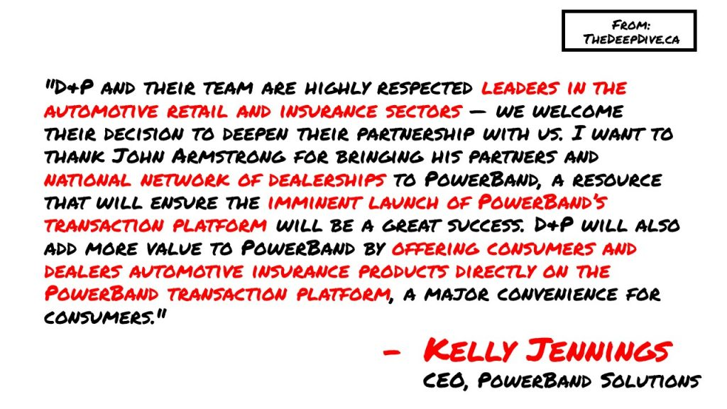 """""""D&P and their team are highly respected leaders in the automotive retail and insurance sectors — we welcome their decision to deepen their partnership with us. I want to thank John Armstrong for bringing his partners and national network of dealerships to PowerBand, a resource that will ensure the imminent launch of PowerBand's transaction platform will be a great success. D&P will also add more value to PowerBand by offering consumers and dealers automotive insurance products directly on the PowerBand transaction platform, a major convenience for consumers.""""  Kelly Jennings, CEO"""