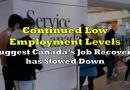 Continued Low Employment Levels Suggest Canada's Job Recovery has Slowed Down