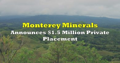Monterey Minerals Announces $1.5 Million Private Placement
