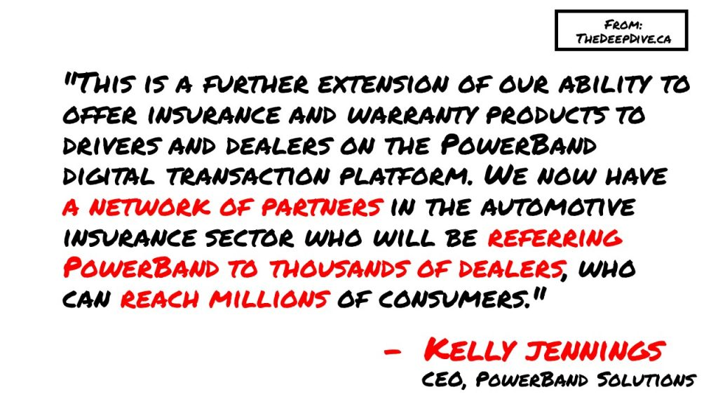 """""""This is a further extension of our ability to offer insurance and warranty products to drivers and dealers on the PowerBand digital transaction platform. We now have a network of partners in the automotive insurance sector who will be referring PowerBand to thousands of dealers, who can reach millions of consumers.""""  Kelly Jennings, CEO PowerBand"""
