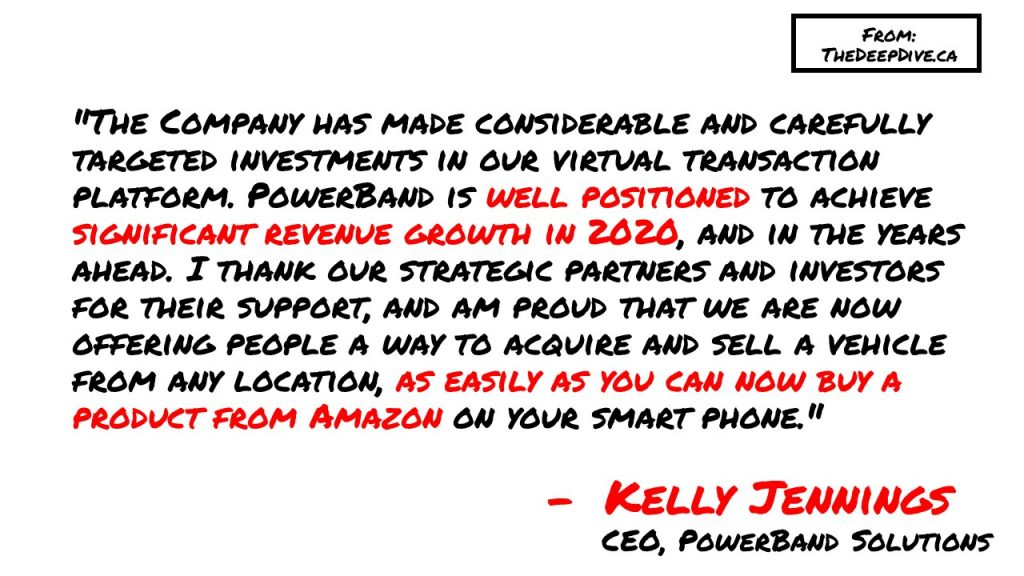 """""""The Company has made considerable and carefully targeted investments in our virtual transaction platform. PowerBand is well positioned to achieve significant revenue growth in 2020, and in the years ahead. I thank our strategic partners and investors for their support, and am proud that we are now offering people a way to acquire and sell a vehicle from any location, as easily as you can now buy a product from Amazon on your smart phone.""""  Kelly Jennings, PowerBand CEO"""