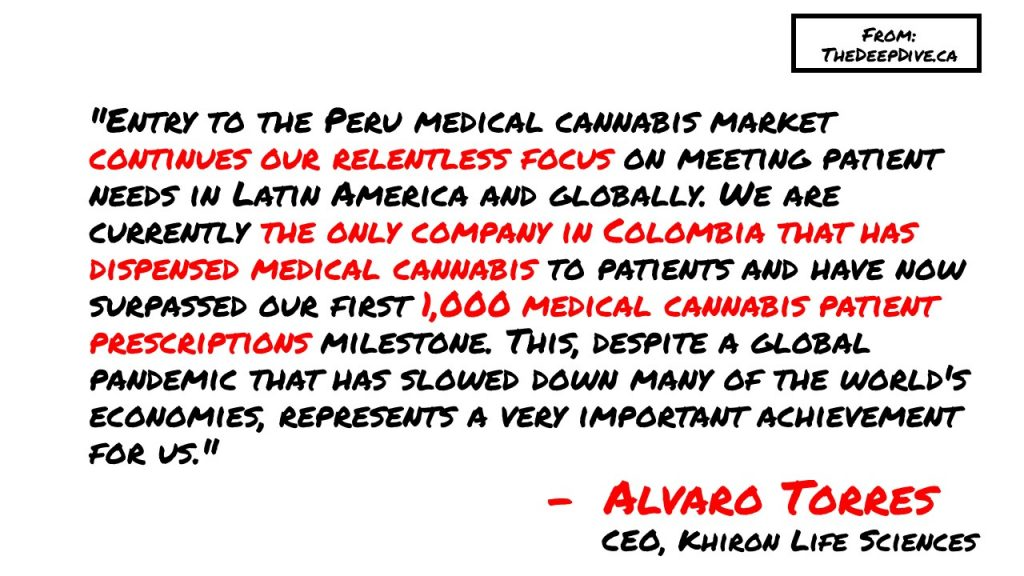 """""""Entry to the Peru medical cannabis market continues our relentless focus on meeting patient needs in Latin America and globally. We are currently the only company in Colombia that has dispensed medical cannabis to patients and have now surpassed our first 1,000 medical cannabis patient prescriptions milestone. This, despite a global pandemic that has slowed down many of the world's economies, represents a very important achievement for us.""""  Alvaro Torres, CEO of Khiron"""