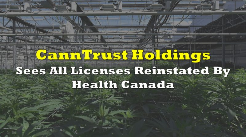 CannTrust Sees All Licenses Reinstated By Health Canada