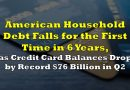 American Household Debt Falls for the First Time in 6 Years, Credit Card Balances Drop by Record $76 Billion in Q2