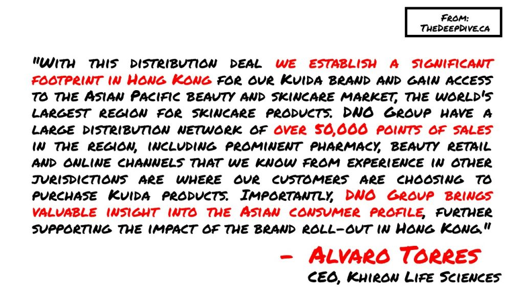 """""""With this distribution deal we establish a significant footprint in Hong Kong for our Kuida brand and gain access to the Asian Pacific beauty and skincare market, the world's largest region for skincare products. DNO Group have a large distribution network of over 50,000 points of sales in the region, including prominent pharmacy, beauty retail and online channels that we know from experience in other jurisdictions are where our customers are choosing to purchase Kuida products. Importantly, DNO Group brings valuable insight into the Asian consumer profile, further supporting the impact of the brand roll-out in Hong Kong."""""""