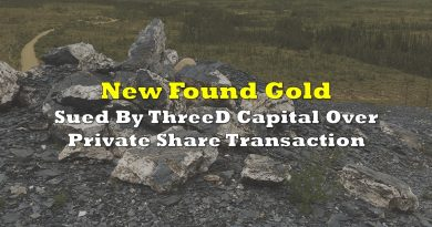New Found Gold Sued By ThreeD Capital Over Private Share Transaction