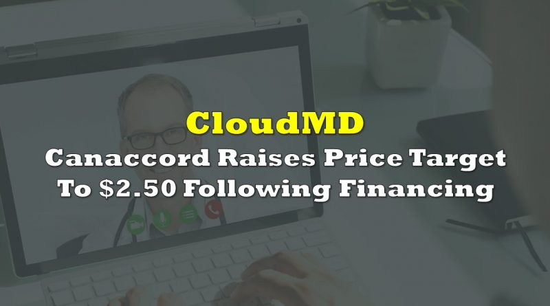 Canaccord Raises CloudMD Price Target To $2.50 Following Financing