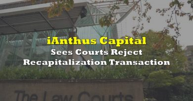 iAnthus Sees Courts Decline Recapitalization Transaction
