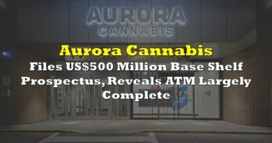 Aurora Cannabis Files US$500 Million Base Shelf Prospectus, Reveals ATM Largely Complete