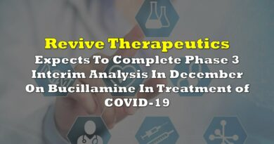 Revive Expects To Complete Phase 3 Interim Analysis In December On Bucillamine In Treatment of COVID-19