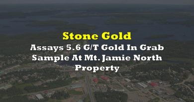 Stone Gold Assays 5.6 G/T Gold In Grab Sample At Mt. Jamie North Property