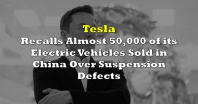 Tesla Recalls Almost 50,000 of its Electric Vehicles Sold in China Over Suspension Defects