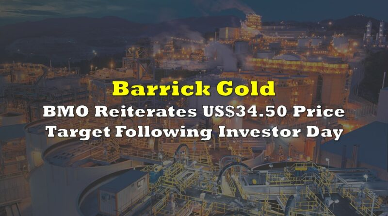 BMO Reiterates US$34.50 Price Target On Barrick Gold Following Investor Day