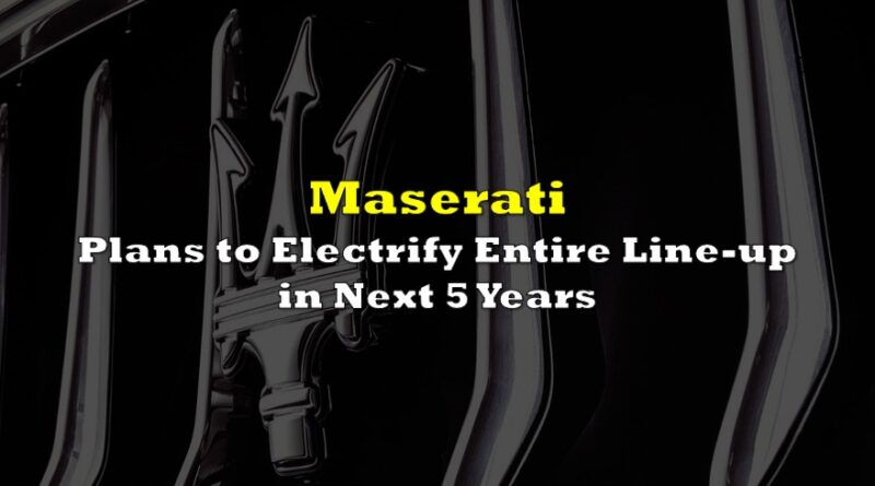Maserati Plans To Electrify Entire Lineup In Next 5 Years