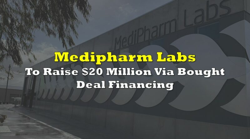 Medipharm Labs To Raise $20 Million Via Bought Deal Financing