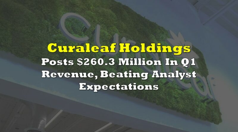 Curaleaf Posts $260.3 Million In Q1 Revenue, Beating Analyst Expectations