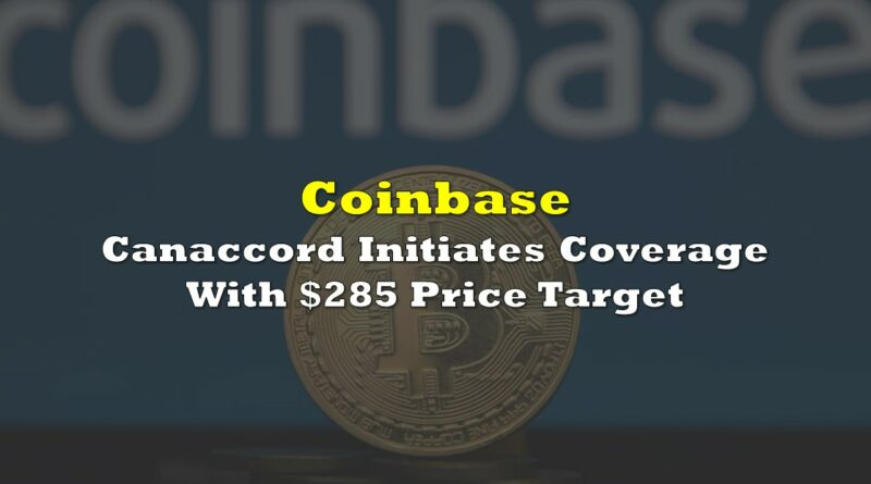 Coinbase: Canaccord Initiates Coverage With $285 Price Target