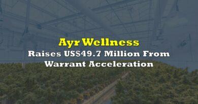 Ayr Wellness Raises US$49.7 Million From Warrant Acceleration